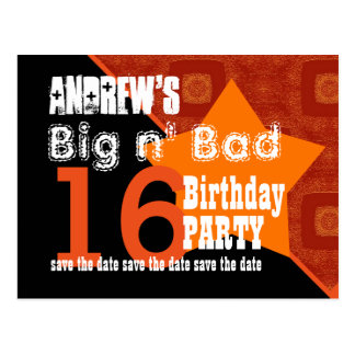 16th Birthday Save the Date Orange Diagonal A02 Postcard