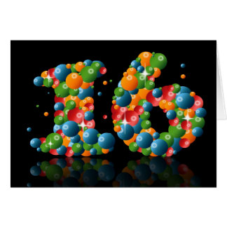 16th birthday with numbers formed from balls card