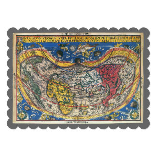 "16th Century Antique World Map, Peter Apian 5"" X 7"" Invitation Card"