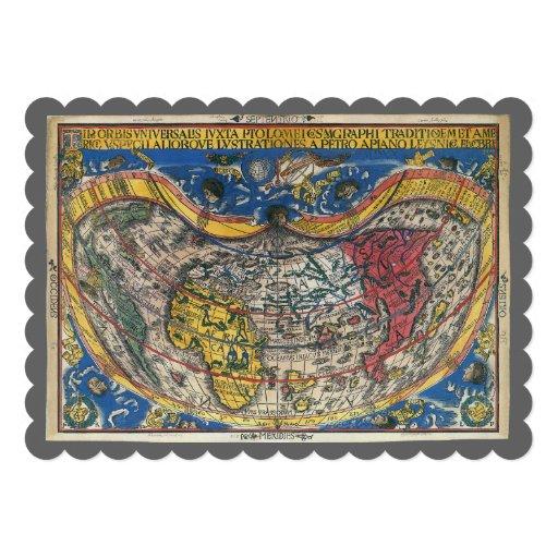 16th Century Antique World Map, Peter Apian Custom Announcements