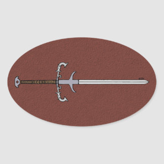 16th Century Bearing Sword Oval Sticker