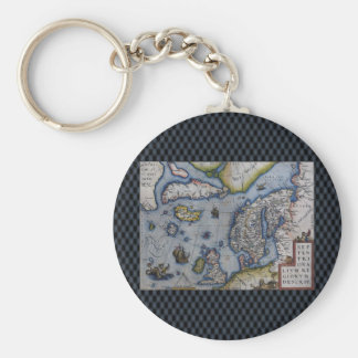 16th Century Map of Scandinavia Basic Round Button Keychain