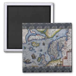 16th Century Map of Scandinavia Square Magnet