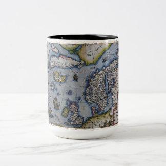 16th Century Map of Scandinavia Two-Tone Coffee Mug