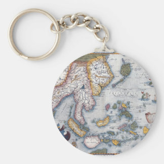 16th Century Map of South East Asia and Indonesia Basic Round Button Keychain