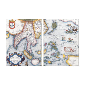 16th Century Map of South East Asia and Indonesia Canvas Prints