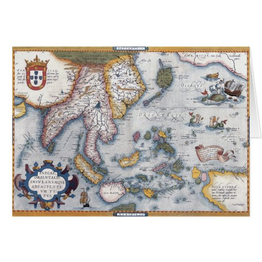 16th Century Map of South East Asia and Indonesia Card