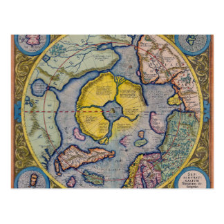 16th Century Mercator North Pole Map Postcard