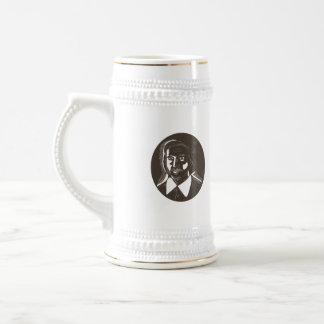 16th Century Poet Oval Woodcut Beer Stein