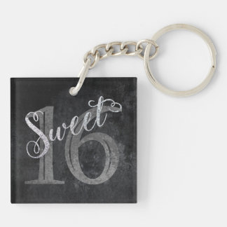16th Charcoal Gray | Sweet 16 Silver Glitter | Keychain