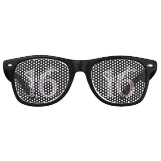 16th Dusty Pink Rose | Sweet 16 Silver Glitter Retro Sunglasses