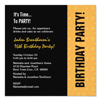 16th Teen Birthday Modern Gold and Black V841 Card