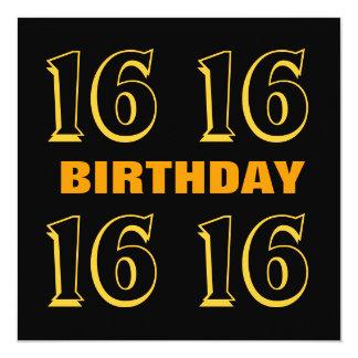16th Teen Birthday Modern Gold and Black W1015 Custom Announcements