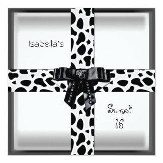 "16th Teen Birthday Wild Black & White 5.25"" Square Invitation Card"