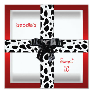 16th Teen Birthday Wild Red Black & White Personalized Announcements