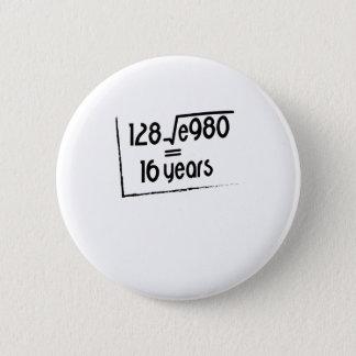 16th Wedding Anniversary or 16th Birthday Gift 2 Inch Round Button