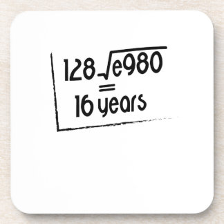 16th Wedding Anniversary or 16th Birthday Gift Coaster