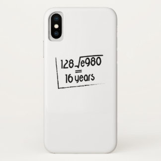 16th Wedding Anniversary or 16th Birthday Gift iPhone X Case