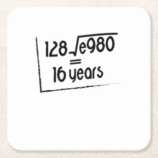 16th Wedding Anniversary or 16th Birthday Gift Square Paper Coaster
