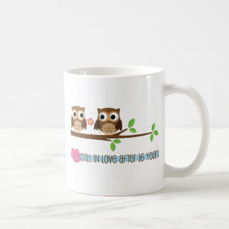16th Wedding Anniversary Owls Coffee Mug