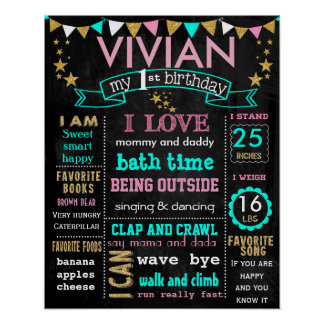 "16x20"" Birthday chalkboard sign personalized"