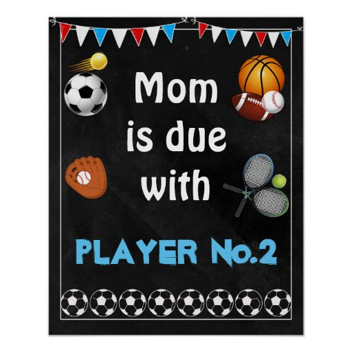 16x20 Pregnancy announcement Sign sports boy