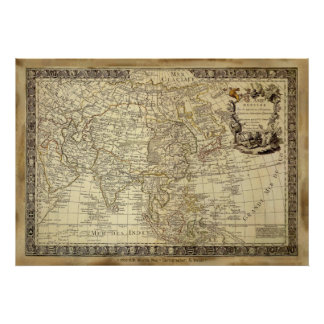 1700 AD OLD WORLD MAP Art Poster