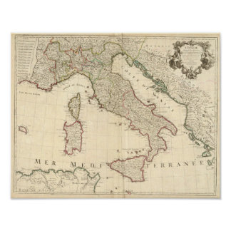 1700 Map of Italy Poster