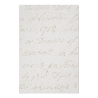 1700s Vintage English Script Ivory Parchment Paper Poster
