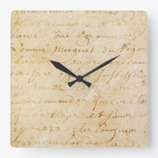 1700s Vintage French Antique Script Background Wallclock