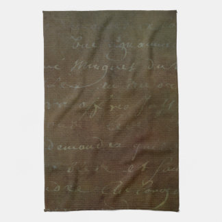 1700s Vintage French Brown Script Grunge Parchment Kitchen Towel