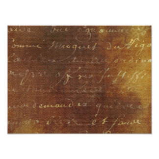 1700s Vintage French Grunge Script Parchment Paper Photo Print