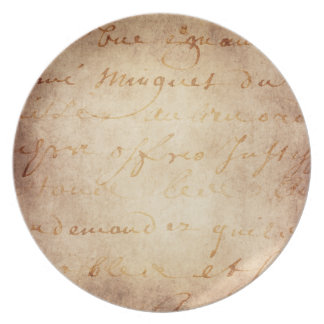 1700s Vintage French Lettered Script Parchment Plate