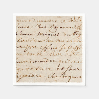 1700s Vintage French Script Grunge Parchment Paper Disposable Napkin