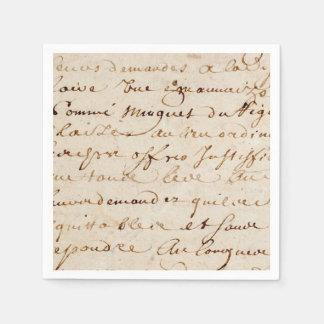 1700s Vintage French Script Grunge Parchment Paper Napkin