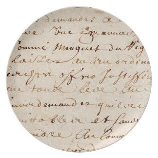 1700s Vintage French Script Grunge Parchment Paper Plates