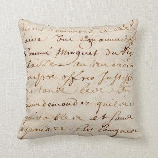 1700s Vintage French Script Grunge Parchment Paper Throw Pillow