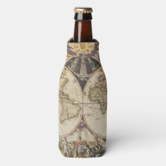 1702 A new map of the world Bottle Cooler