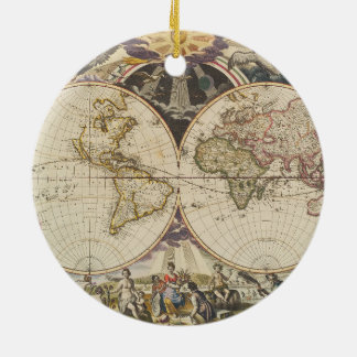 1702 A new map of the world Ceramic Ornament