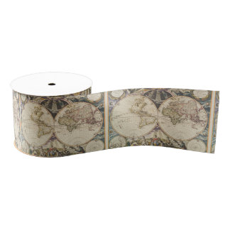 1702 A new map of the world Grosgrain Ribbon
