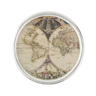 1702 A new map of the world Lapel Pin