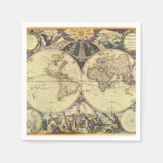 1702 A new map of the world Paper Napkins