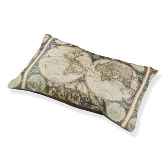 1702 A new map of the world Pet Bed