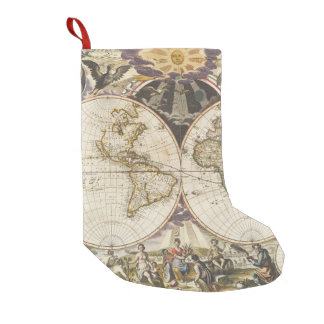1702 A new map of the world Small Christmas Stocking