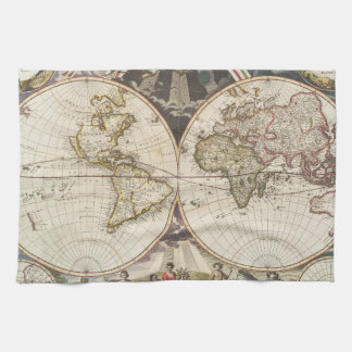 1702 A new map of the world Towels