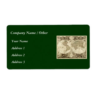 1708 World Map by Jean Baptiste Nolin Personalized Shipping Label