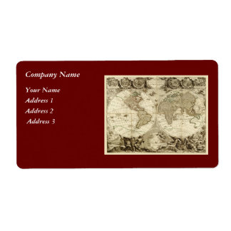 1708 World Map by Jean Baptiste Nolin Personalized Shipping Labels