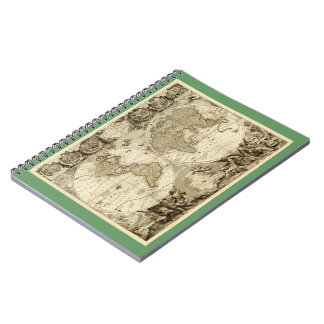 1708 World Map by Jean Baptiste Nolin Spiral Notebook