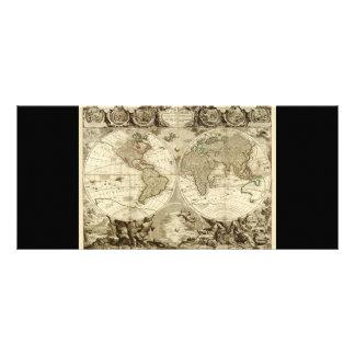 1708 World Map by Jean Baptiste Nolin Custom Rack Card