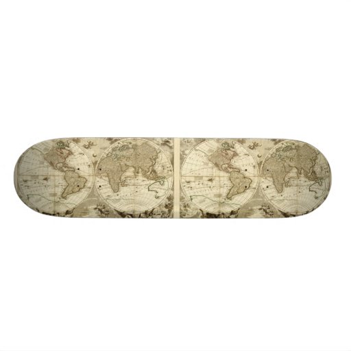 1708 World Map by Jean Baptiste Nolin Skate Boards